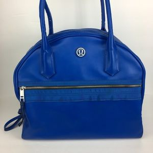 "Lululemon ""Sweat Once a Day"" royal blue gym bag"